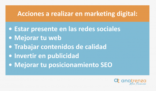 Acciones a realizar en marketing digital