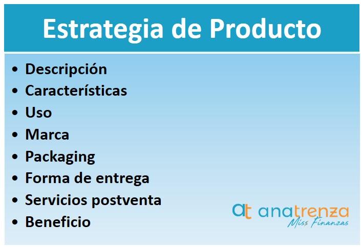 Partes de la estrategia de producto